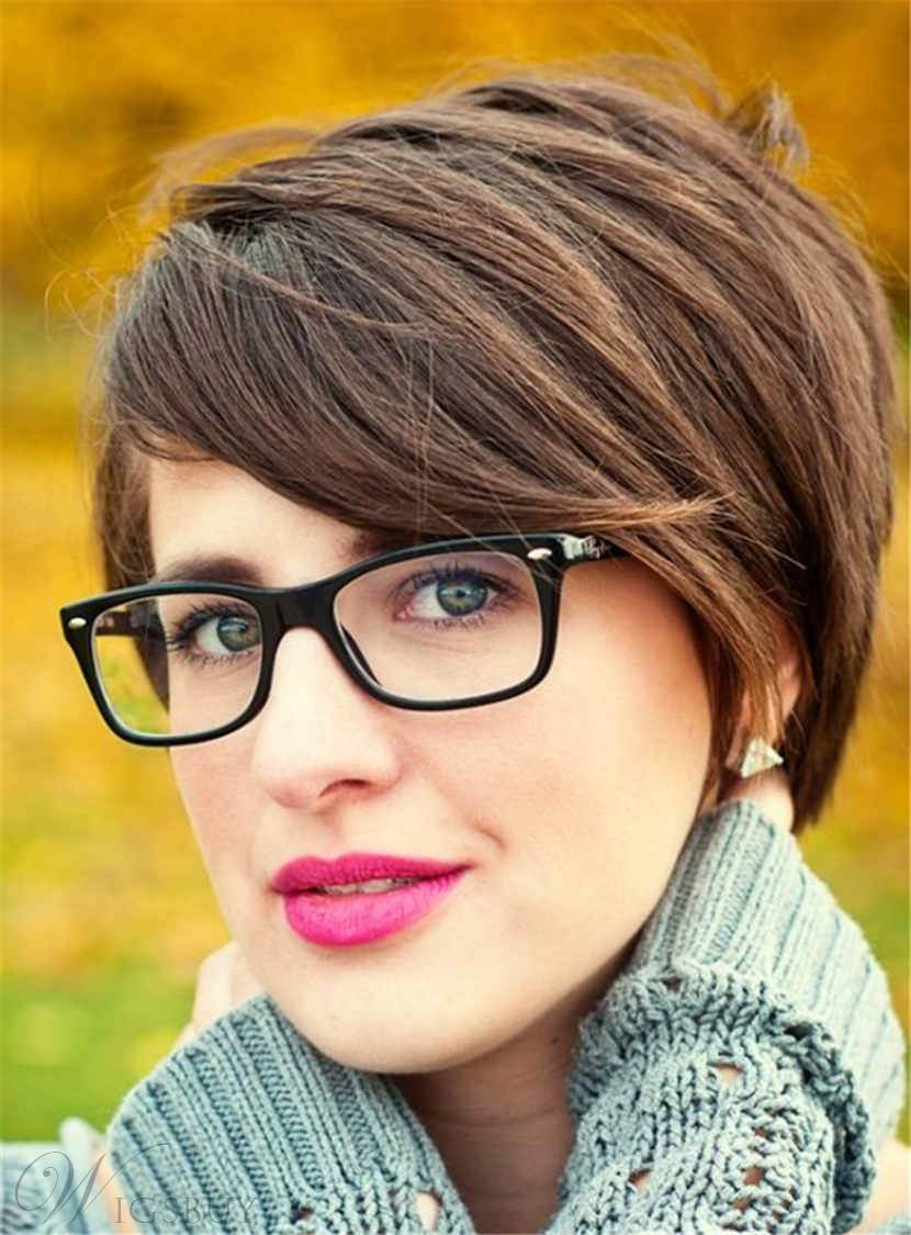 Short Chic Pixie Straight Glamour Synthetic Hair Capless Women Wig 6 Inches