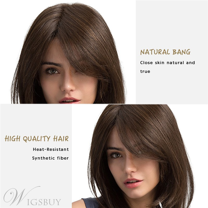 Long Natural Straight Side Fringe Capless Synthetic Wigs 20 Inches