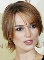 Short Keira Knightley Attractive Straight Chic Synthetic Hair Lace Front Women Wig 8 Inches