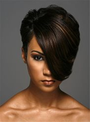 short one side part straight layered boy cuts synthetic