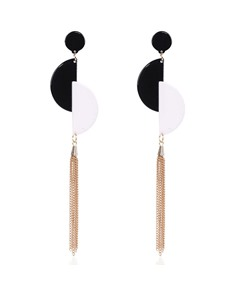 Acrylic Splice Long Alloy Tassel Earrings