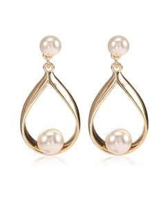 Pearl Alloy Pear-Shaped Hollow Out Earrings
