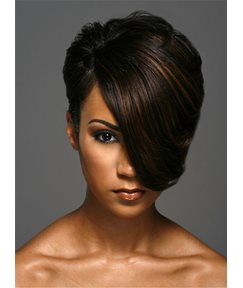 Short One Side Part Straight Layered Boy Cuts Synthetic Hair With Full Bangs Capless African American Women Wigs 8 Inches