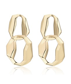 Alloy Circle Chain Wave Cut Exaggerated Style Earrings