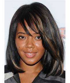 Medium Youthful Straight Synthetic Hair Capless African American Women Wig 12 Inches