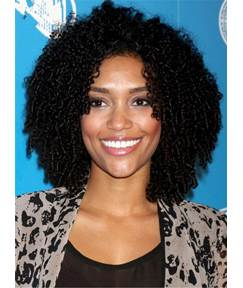 Medium Kinky Classical Curly Human Hair Full Lace African American Women Wig 12 Inches