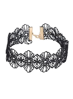 Floral Hollow Out Lace Torques Choker Necklace
