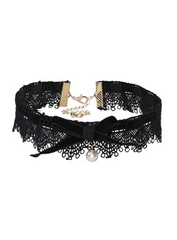 Pearl Bowknot Velvet Lace Torques Choker Necklace