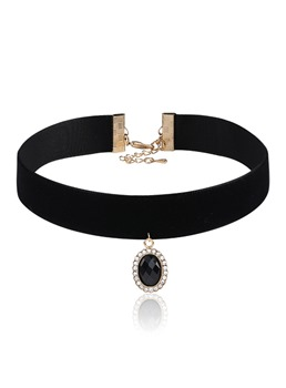 Diamante Rhinestone Pendant Choker Necklace