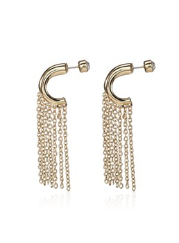 Long Alloy Tassel Diamante Semicircle Earrings