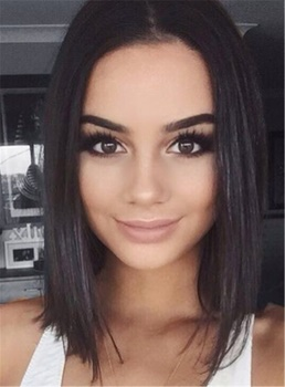 Straight Bob Hairstyle Shoulder Length Synthetic Lace Front African American Wigs 14 Inches