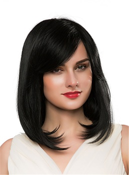 Mishair® Medium Bob Straight Human Hair Capless Wig 16 Inches