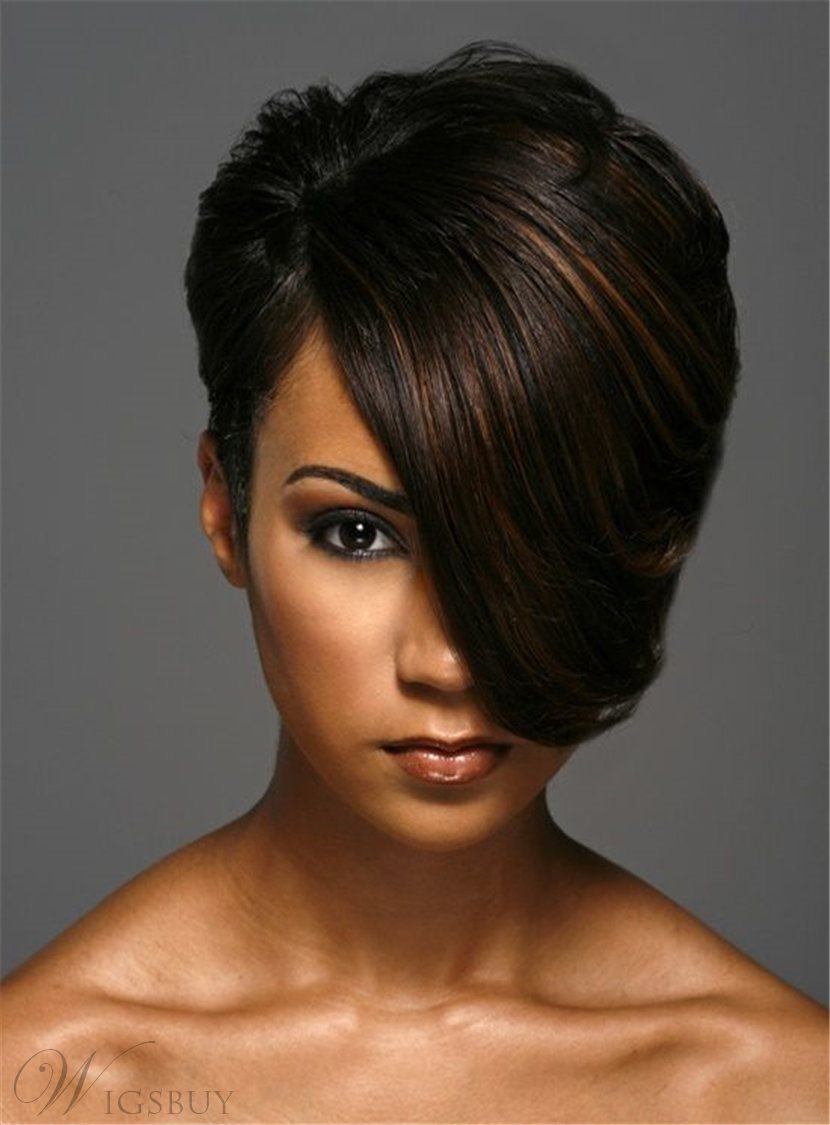 Short One Side Part Straight Layered Boy Cuts Synthetic Hair With Full Bangs Capless African American Women Wigs 8 Inches 12899764