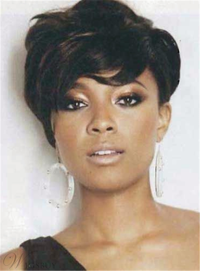 Short Tilted Pixie Hairstyle Straight Human Hairs Capless Women African American Wigs 6 Inches
