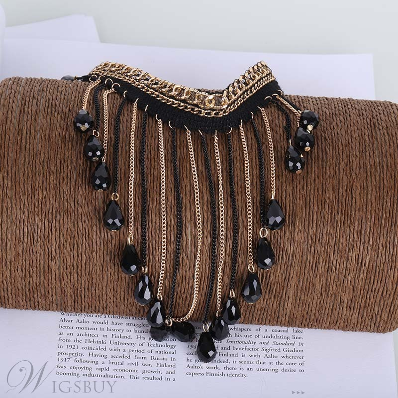 Long Tassel Rhinestone Pendant Lace Choker Necklace