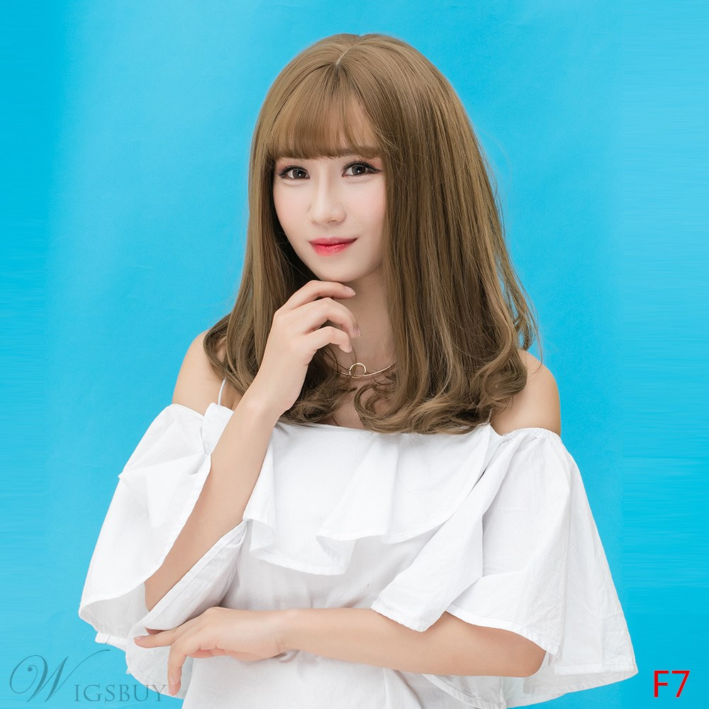 Color Long Fashion Long Air Qi Liu Hai Fresh Natural Cute Wig 18 Inches