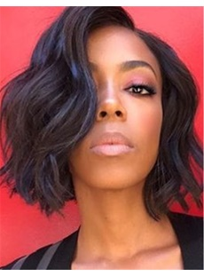 Charming Graceful Bob Wavy Hairstyle Dark Brown Synthetic Lace Front African American Wigs 10 Inches