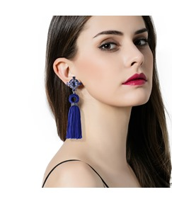 Tassel Crystal-Shaped Inlaid Vintage Earrings