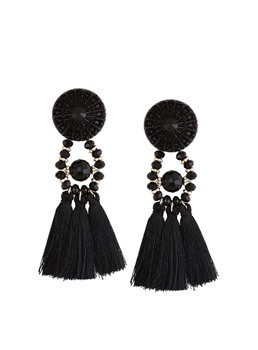 Long Tassel Measle Alloy Earrings