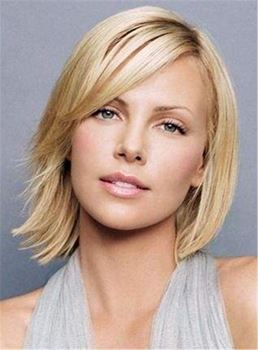 Short Silky Neat Polished Straight Synthetic Hair Lace Front Women Wig 10 Inches