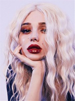 Charming Long Fashionable Wavy Enchanting Synthetic Hair Lace Front Women Wig 14 Inches