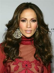 Jennifer Lopez Long Popular Wavy Glamour Synthetic Hair Lace Front Women Wig 18 Inches