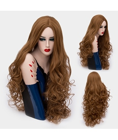 Glossy Graceful Long Big Curly Mid Part Synthetic Hair Capless Cosplay Wigs 32 Inches