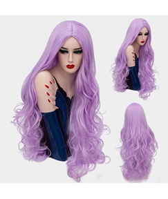 Elegant Graceful Long Big Curly Mid Part Synthetic Hair Capless Cosplay Wigs 32 Inches