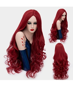 Gorgeous Sexy Long Big Curly Mid Part Synthetic Hair Capless Cosplay Wigs 32 Inches