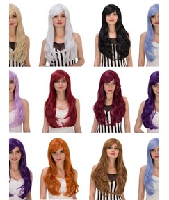 Multicolors Synthetic Hair Kinky Curly Cosplay Capless Wigs 28 Inches