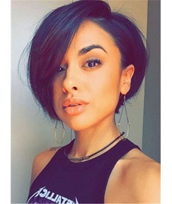 Bob Hairstyle Tilted Fashion Attractive Short Synthetic Hair Straight Capless African American Wigs 10 Inches