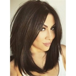 Charming Smooth Long Straight Graceful Synthetic Hair Lace Front Cap African American Women Wigs 14 Inches