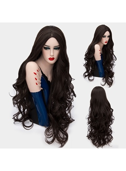 Glossy Charming Long Big Curly Mid Part Synthetic Hair Capless Cosplay Wigs 32 Inches