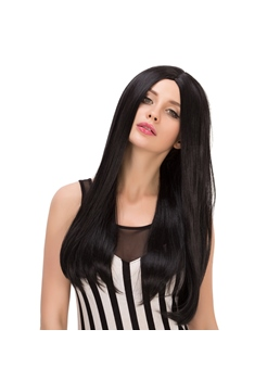 Soft Long Straight Mid Part Synthetic Hair Capless Wigs 24 Inches