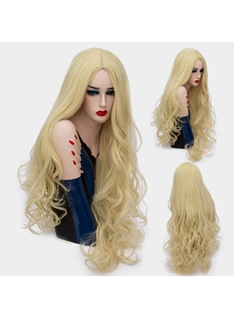 Fluffy Fashion Long Big Curly Mid Part Synthetic Hair Capless Cosplay Wigs 32 Inches