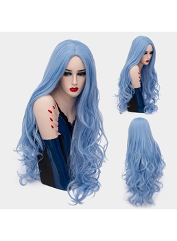 Fascinating Graceful Long Big Curly Mid Part Synthetic Hair Capless Cosplay Wigs 32 Inches
