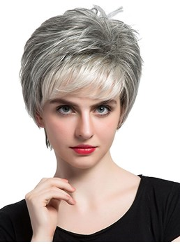 Salt and Pepper Short Straight Capless Wigs High Quality With Bangs Human Hair 10 inch
