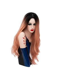 Hot Sale Cosplay Orange Pink Long Kinky Curly Synthetic Capless Hair Wig 28 Inches