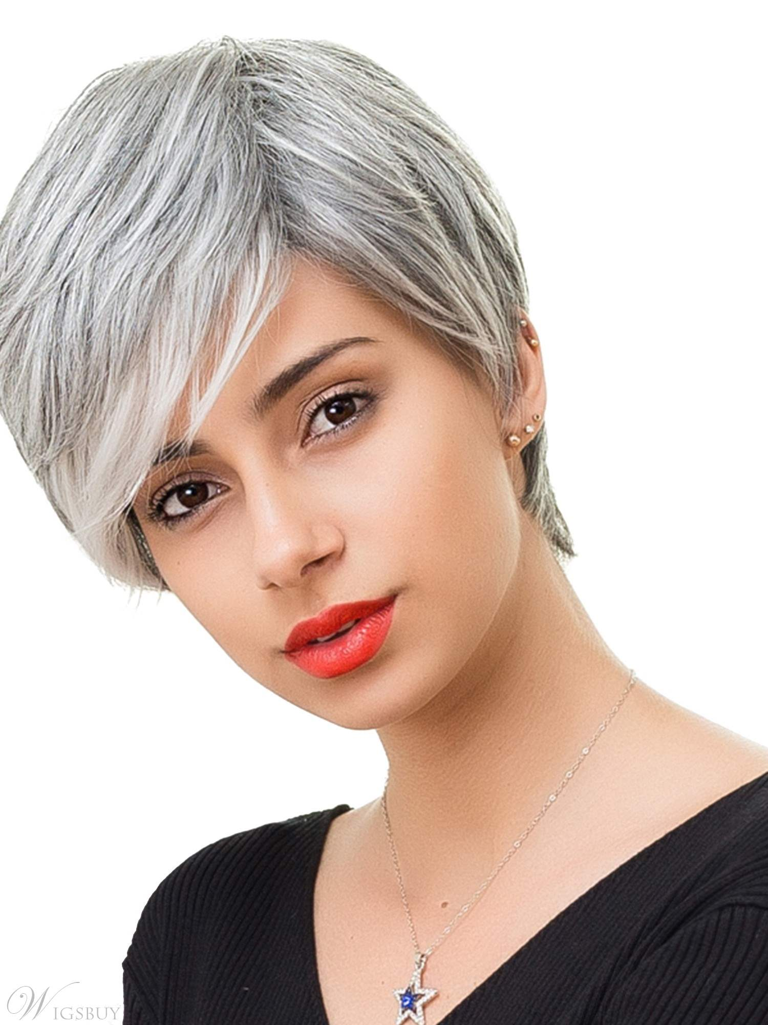salt and pepper hair styles for woman salt and pepper short straight capless wigs with bangs
