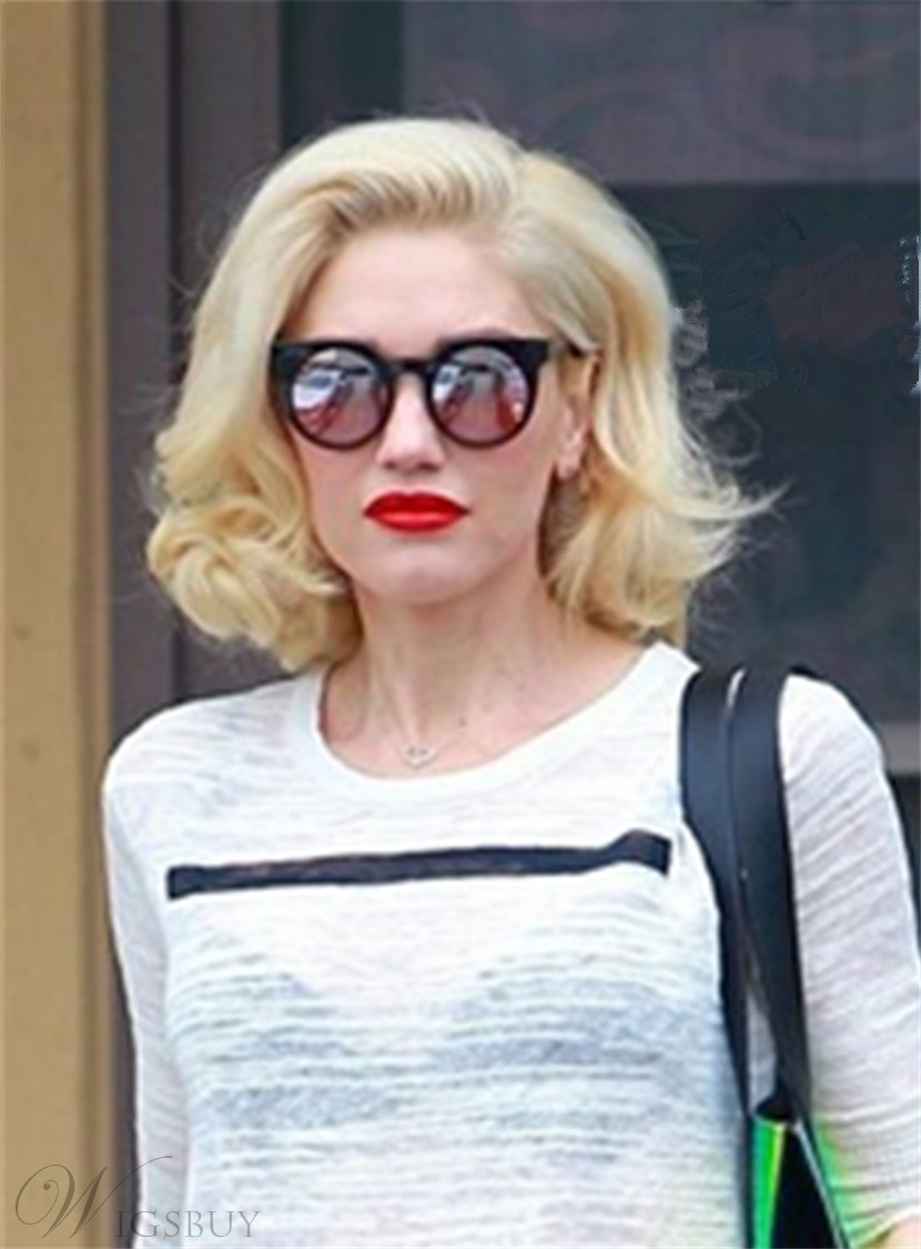 Gwen Stefani Shoulder Length Wavy Synthetic Hair Lace Front Wig 12