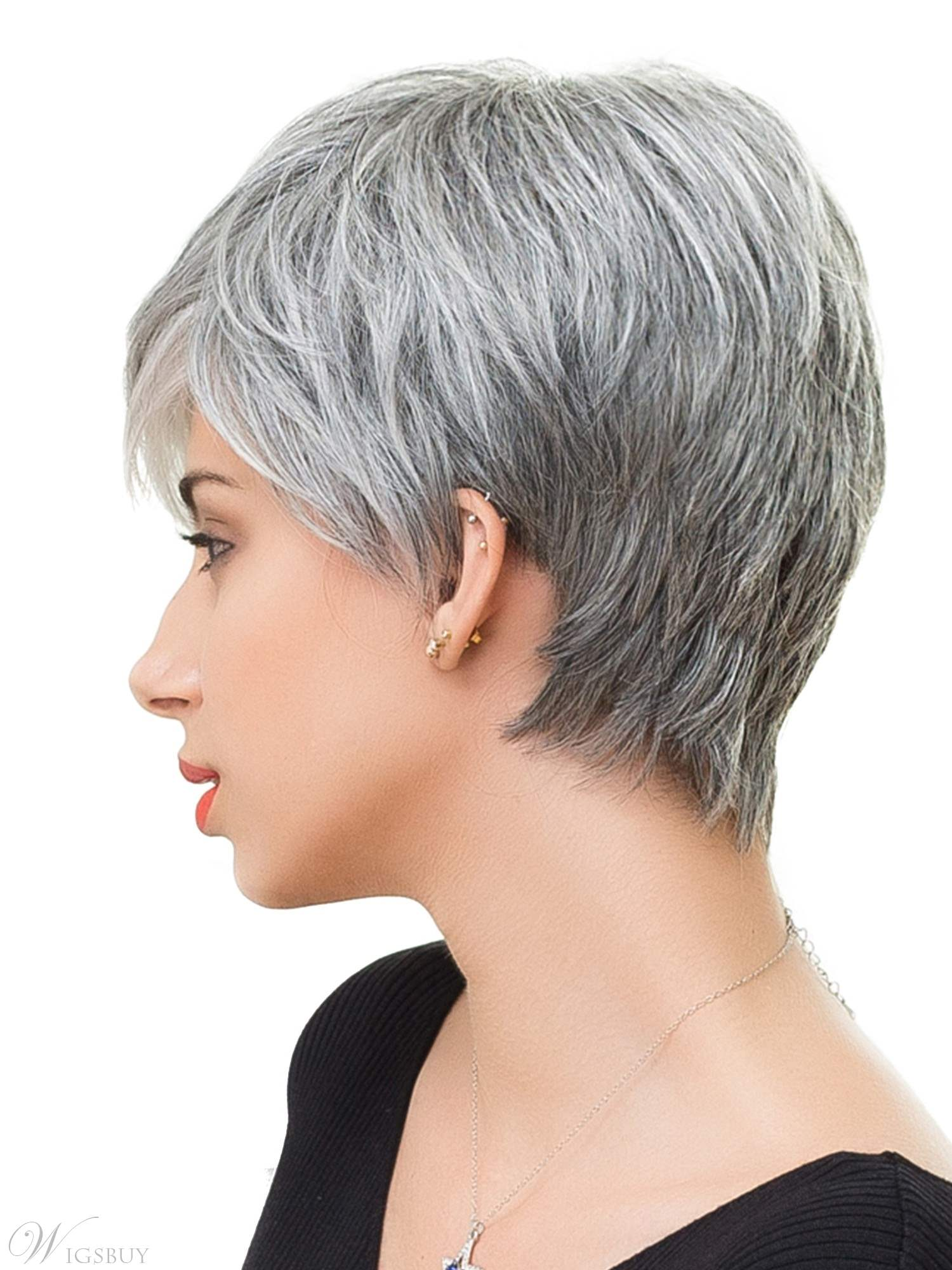 Salt and Pepper Short Straight Capless Wigs with Bangs Human Hair for Older Women
