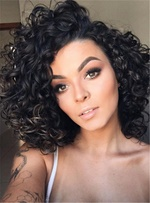 Attractive Fluffy Mid-Length Kinky Curly Synthetic Hair Lace Front Cap African American Wigs 12 Inches