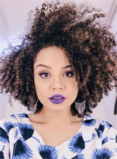 Fashion Shaggy Fluffy Mid-Length Synthetic Curly Hair Lace Front Cap African American Wigs 14 Inches