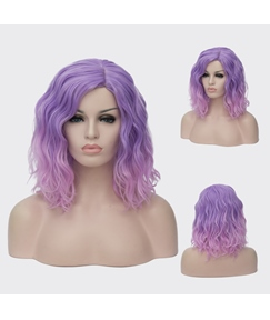 Medium Light Purple Kinky Curly Synthetic Hair Capless Cosplay Wigs 14 Inches
