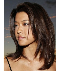 Grace Park Dark Brown Celebrity Synthetic Mid-Length Straight Hair Lace Front Cap Women Wigs 12 Inches