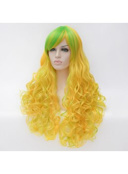 Long Mixed Color Yellow Green Big Curly Synthetic Hair Capless Cosplay Wigs 30 Inches