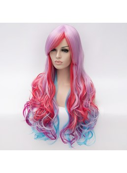 Long Mixed Color Silver Red Blue Wavy Synthetic Hair Capless Cosplay Wigs 30 Inches