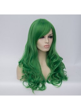 Long Green Big Curly Synthetic Hair Capless Cosplay Wigs 24 Inches