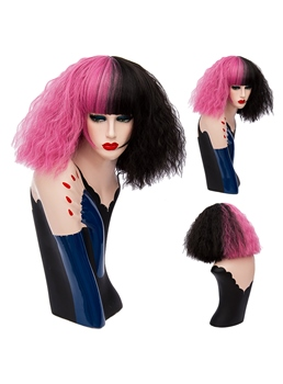 Medium Pink Black Kinky Curly Bob With Bangs Hair Synthetic Hair Capless Cosplay Wigs 12 Inches