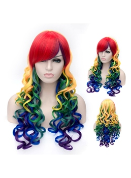 Long Mixed Color Red Yellow Blue Green Purple Wavy Synthetic Hair Capless Cosplay Wigs 26 Inches